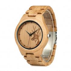 Ceas din lemn Bobo Bird cu curea din lemn, D28 Wooden Lux