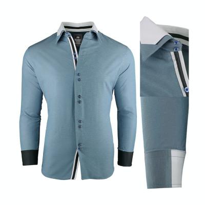 Camasa pentru barbati, super slim fit, elastica, casual, cu guler - blackrock-adept foto