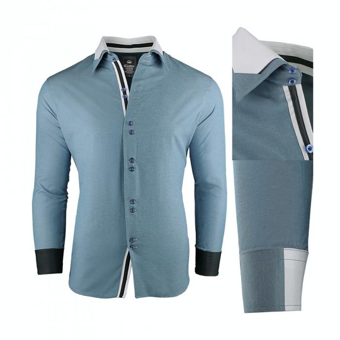 Camasa pentru barbati, super slim fit, elastica, casual, cu guler - blackrock-adept