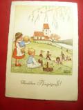 Felicitare de Paste 1948 semnata Martha Uvessels ,circ.Bucuresti cu Cenzura, Circulata, Printata