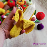 Banana, coaja detasabila fruct jucarie copii handmade crosetata bumbac