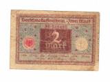 Bancnota Germania 2 mark 1920, circulata
