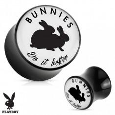 """Plug şa pentru ureche, din acrilic negru """"Bunnies do it better"""" - Lățime: 6 mm"""