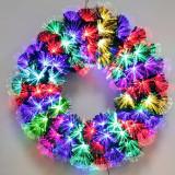 Cumpara ieftin Coronita brad artificial cu fibra optica si LED-uri, diametru 40 cm, 80 ace, decorativa