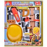 Set 50 bucati, jucarie pentru copii, model unelte cu casca, 43x52x5 cm