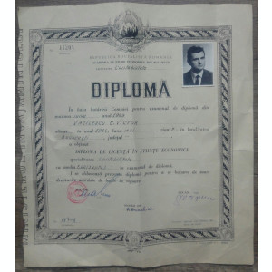 Diploma bacalaureat in contabilitate// RSR, 1969