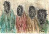 Cumpara ieftin Lucrare Studiu Regele nebun, semnat Baba, 21x30 cm, ceracolor și cărbune, Portrete, Pastel, Impresionism