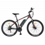 Cumpara ieftin Bicicleta electrica MTB CARPAT I1008E, roti 27.5inch, motor 250W, autonomie 60km, cadru 18inch aluminiu, frane mecanice disc, 21 viteze (Negru/Rosu)