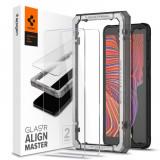 Cumpara ieftin Folie sticla transparenta cu sistem de montare Case friendly Spigen ALM GLAS.tR SLIM compatibila cu Samsung Galaxy Xcover 5, Set 2 bucati