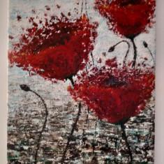 Etheric World _Tablou pictat in acrilice, 28/37cm, Original., Flori, Acrilic, Impresionism