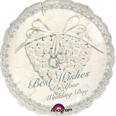 Balon nunta din folie 43cm Best Wishes On Your Wedding Day