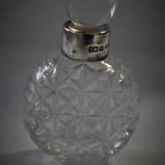 Sticla / Sticluta parfum veche - Cristal cu Argint Anglia Birmingham 1916