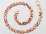 Lant unisex dublu placat Aur roze 18K,lungime 50cm,grosime 1cm