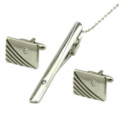 set buton si ac cravata argintii cristal linii curbate ambalaj cadou
