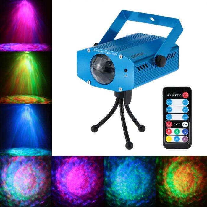 Proiector LED Lixada, reda valuri de apa, cu trepied si telecomanda