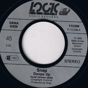 Snap! - Ooops up (1990, Logic Records) disc vinil single 7