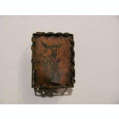 GE Suport vechi deosebit cutie chibrituri chibrite / metal & piele / cu defecte