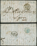 France 1843 Postal History Rare Stampless Cover + Content Le Havre Lyon D.1074