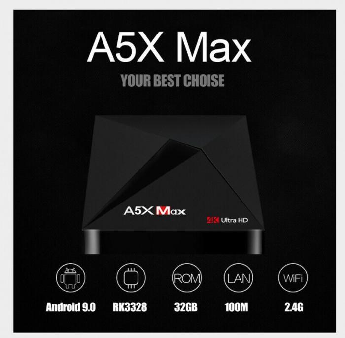 Mini PC SMART TV BOX, A5X Max Android 9.0, 4/32GB ROM, Bluetooth, Netflix