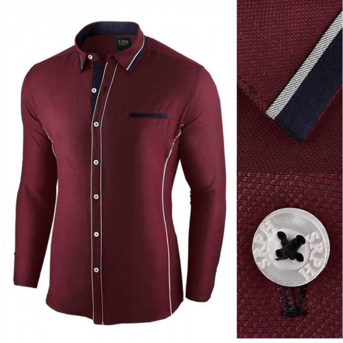 Camasa pentru barbati, visiniu, slim fit - Allee de Longchamp