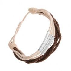 Brățară ajustabilă, șnururi albe și maro, segmente din oțel
