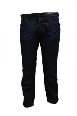 Pantalon de strada din blug de culoare bleumarin, cu cusaturi foto