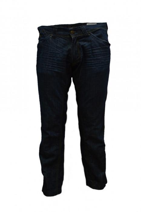 Pantalon de strada din blug de culoare bleumarin, cu cusaturi