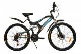 Bicicleta MTB MalTrack Target Blue cu 18 Viteze, Amortizor, Roti 26 Inch, Mountain Bike