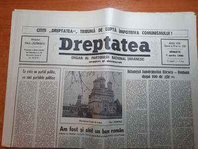 """dreptatea 7 aprilie 1990-art""""bilantul tandemului iliescu-roman dupa 100 de zile"""" foto"""