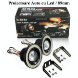 Set 2 Proiectoare cu Lupa LED Angel Eyes 89mm, Universal