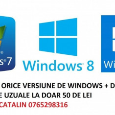 Instalare Windows 7, 8 ,10 + drivere + programe calculator/laptop Pitesti