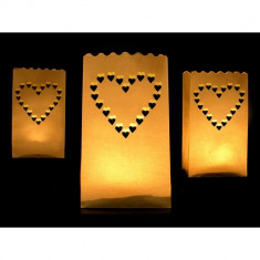 Pachet Lampioane decorative, inimioare, 10 buc
