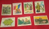 Lot 7 cartonașe/reclame-cromolitografii-tematică România-regalitate,harta,stema