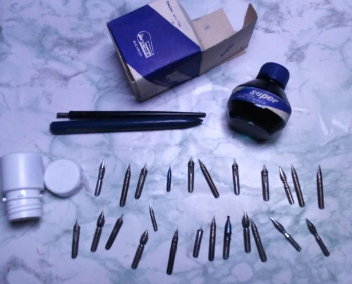 lot 25 penite germane 2 toc si calimara cerneala scris vechi grafica de colectie