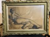 Nud - Vavilyna 1901-1971- Grafica - accept expertizare, Carbune, Realism