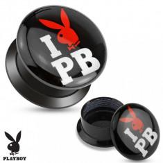 Plug şurub din acrilic negru - I love Playboy - Lățime: 6 mm