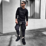 Pantaloni pentru barbati de trening negri conici banda jos cu siret alb buzunare laterale bumbac Z0014