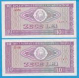 SET 2 BANCNOTE ROMANIA - 10 LEI 1966, SERII  CONSECUTIVE, STARE AUNC/UNC