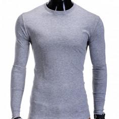 Bluza pentru barbati din bumbac gri simpla slim fit L59