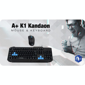 Kit Gaming Tastatura A+ K1 Kandaon + Mouse F1 Black Noua Sigilata P229