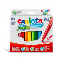 Carioca Jumbo super lavabila varf rotund Set 24 culori diferite.