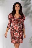 Rochia Leyla neagra tip sacou cu imprimeu floral rosu