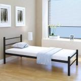 Pat single metalic cu saltea, 90 x 200 cm, negru
