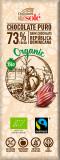 Mini tableta ciocolata neagra BIO 73% cacao, 25 g Chocolates Sole