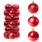 Set globuri Craciun, pentru brad, din plastic, 6cm, 30 buc, rosu