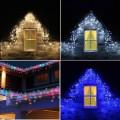Instalatii 16m turturi perdea franjurata LED Craciun 720LED alb albastru multico