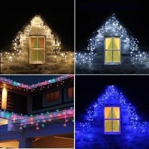 Instalatii 16m turturi perdea franjurata LED Craciun 720LED alb albastru multico foto