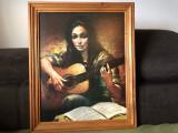 Tablou vechi,litografie germana,femeie cu chitara