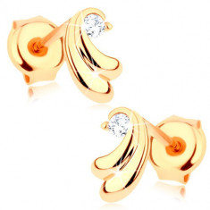 Cercei din aur galben 375 - pereche de arcuri mici, zirconiu transparent
