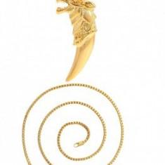 Lant cu pandantiv Cap de Lup,dublu placat Aur 24k,lungime 50cm